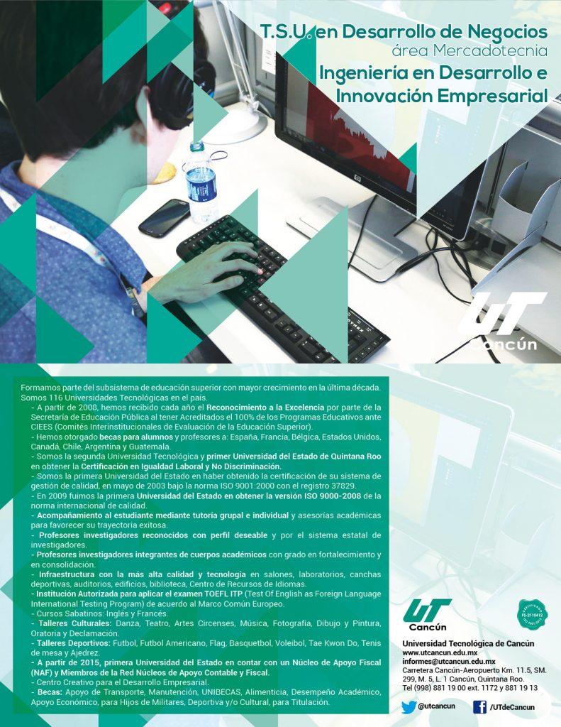 TSU en Desarrollo de Negocios área Mercadotenia, Ingeniería en Desarrollo e Innovación Empresarial