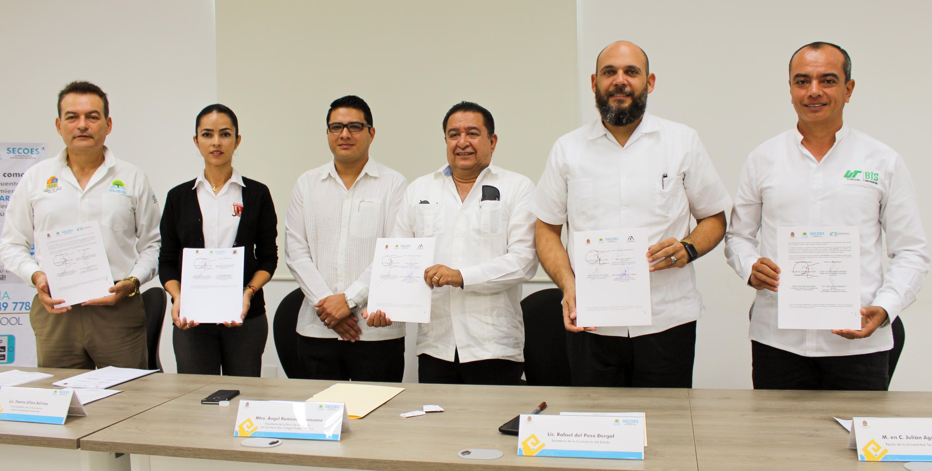Firman Convenio de Colaboración UT Cancún y Contraloría Social de Q. Roo